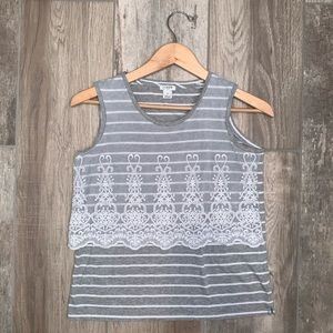 J. CREW FACTORY Lace Overlay Striped Tank XS